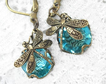 Aquamarine Dragonfly Charmed Glass Earrings