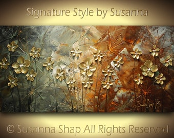 ORIGINAL Palette Knife Impasto Landscape Abstract Contemporary Heavy Texture Brown Grey Gold Flowers Painting by Susanna 48x24 Ready to Hang