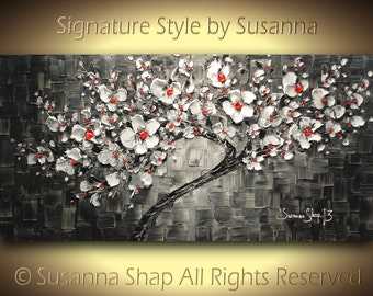 ORIGINAL black and white painting black and white abstract painting large tree cherry blossom palette knife oil painting susanna made2order