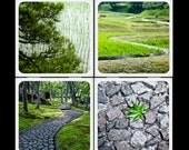 Eyeshoot Shades of Green Ceramic Coaster Set