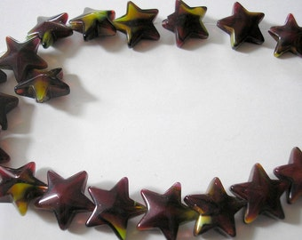 Glass Star Bead Strand - Star Beads - marbled