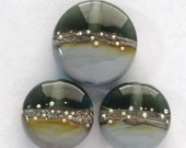 Lampwork Beads Lentil Set Handmade Glass (SL1587) Silvered Shades of Gray