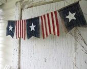 American Flag, Patriotic, July 4th, Old Glory, USA, Painted Burlap Banner, Flag, Bunting, Pennant