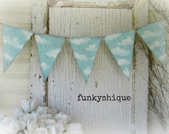 One of a kind, CLOUDS.... Hand Painted Burlap Banner