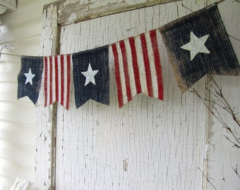FlaSh SaLe!  American Flag, Patriotic, July 4th, Old Glory, USA, Painted Burlap Banner, Flag, Bunting, Pennant