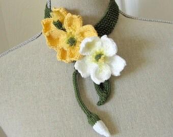 Women Knit Flower Fiber Art Jewelry Neck Corsage - Buttercup