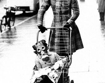 Strange Vintage Reproduction Photograph Gas Masks 5 x 7 - Black & White
