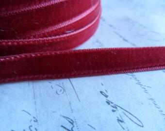 3/8inch Crimson Rose Velvet Ribbon