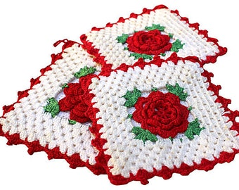 Vintage Kitchen Linens - Red Rose Potholders - Red and White - Hand Crocheted Potholders - 1950s