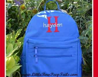 Boys Initial and Name Monogrammed Backpack - Personalized Solid Color Hunter Green Navy Kelly School Kids Back Pack Book Bag kids childrens