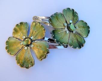 Emerald Green Flower Barrettes, Green Barrette, Flower Snap Barrette
