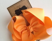 Hair Bow - Big Girl Hairbows - Large Boutique Bow - Creamsicle Bow