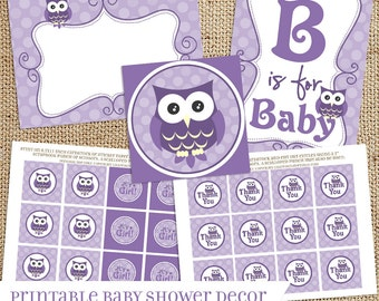 Purple Owl Baby Shower Printable Decorations - Instant Download - Baby Girl - Print Your Own - DIY - Tags Toppers Labels Signs Banners