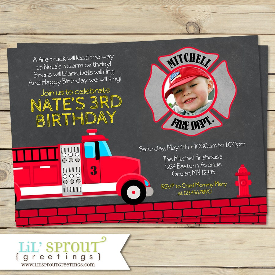 Fire Truck Boys Birthday Invitation Fire Engine Birthday
