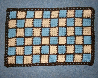 "Changing Pad Baby Car Blanket or Rug Crochet 26x17"" Wedgewood Natural Brown"