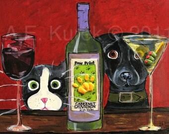 Cat Art Print - Dog Art Print -  5x7 Print of Cat and Dog - Wine Art - Martini Art - Black Labrador - Pet Lovers Gift Idea
