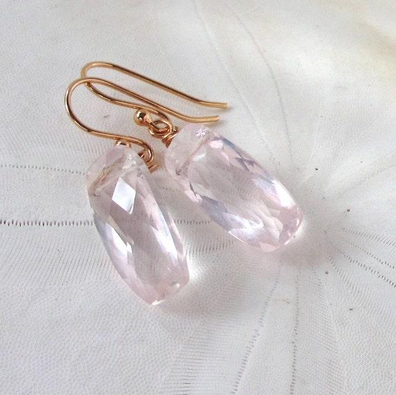 Rose Quartz Earrings, Rose Gold Earrings, Blush Pink Earrings, Pink Gemstone Earrings, Ballet Pink Earrings, Romantic Pink Gems, Faye