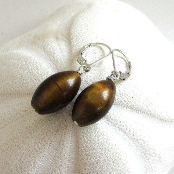 Natural Tigers Eye Earrings, Long Gemstone Dangles, Brown Earrings, 925 Sterling Silver Leverback Earrings, Beni