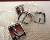 Glass Wine Charm Party Favors - World Travel- Sepia or Color, Paris, Eiffel Tower, Big Ben, Leaning Tower of Pisa, Disney Castle