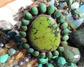 Huge Amazing Green Turquoise and Sterling Silver Bracelet