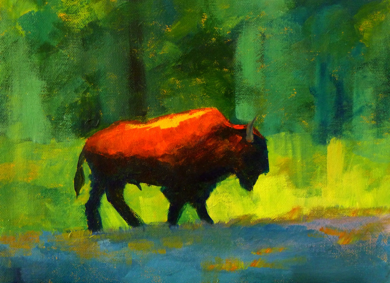 Abstract Animal Painting Wild Bison Forest Buffalo 9x12