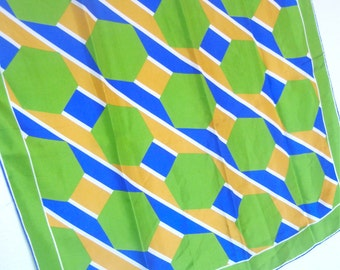 Mod Bee Hive - a vintage 1970's Vera Neumann Op-Art Color-Blocked Silk Scarf - 31 inches