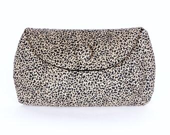 Vintage geometric leopard print clutch purse