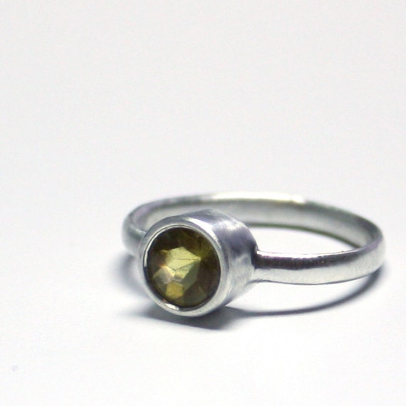 yellow beryl sterling silver solitaire ring