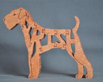 Irish Terrier Dog Puzzle Wooden Toy Hand Cut  with Scroll Saw