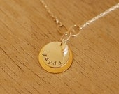 Silver and Gold Personalized Necklace with silver links and birthstone