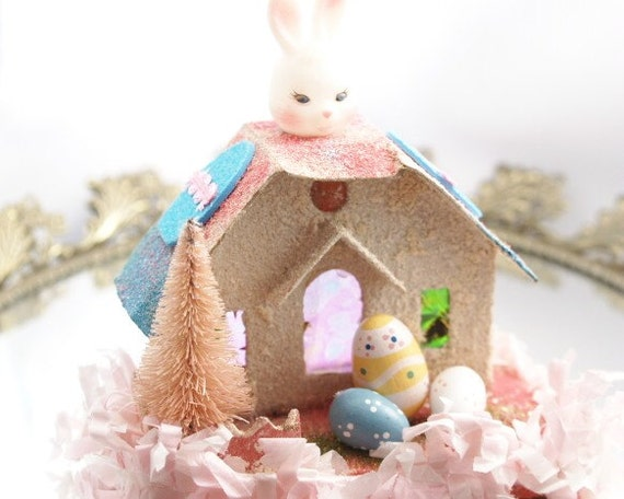 Easter putz house light up bunny house by loreliekaydesigns - Light up easter decorations ...