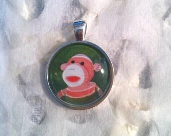 Rainbow Sock Monkey Art Jewelry - Real Glass - 1 Inch Circle Bezel Pendant -  Maurice - Cute Animal - Monkey Jewelry