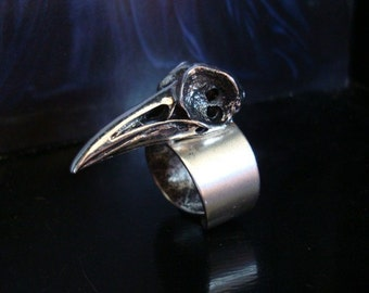 Ring, Gothic, SteamPunk, Raven Bird Skull Ring, Original Design and Hand Made Jewelry By Tiki, Metal Bonded NOT Glued