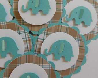 Elephant Cupcake Toppers - Teal and Brown Plaid - Boy Baby Shower Decorations - Boy Birthday Party Decorations - Set of 6