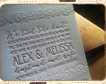 SAMPLE - Wedding Invitations - LETTERPRESS - Love and Lace