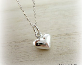 Sweet Heart Necklace.  Petite Puffy Heart Necklace. Sterling Silver Heart. Valentines Day. Mothers Day.