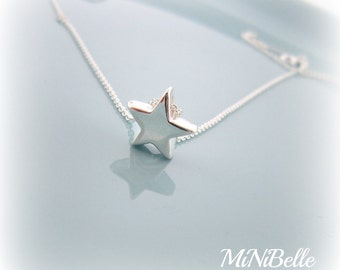 Star Necklace. Simple Star Necklace. Sterling Silver Star Pendant Necklace