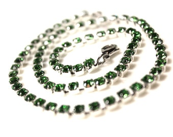 Green Peridot Crystal Rhinestone Chain Up to 22 inches Silver Tone 4.2mm