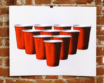 Beer Pong- Hand-Printed Art print