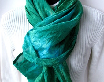 Hand dyed silk Infinity Scarf - Emerald Green Scarf Turquoise Scarf  Infinity  Scarf Womens Scarves Spring Accessories  Scarf  Mothers Day