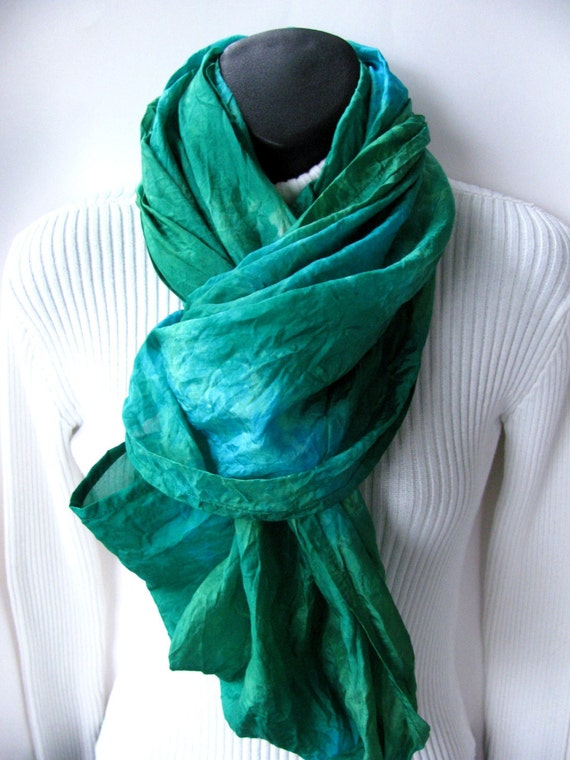 Hand dyed silk Infinity Scarf Emerald Green Scarf Turquoise Scarf  Infinity  Scarf Womens Scarves Winter Accessories  Scarf  Fashion Cowl