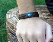 REYES Twisted Braided Turquoise Bracelet | Native American Braided Leather Cuff | Boho Gypsy Wrist Band | Men's Women's Tribal Stone Jewelry