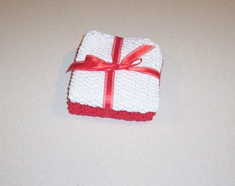 Hand Crochet Red and White Dish Cloths