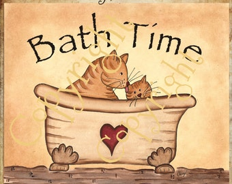 Bath Time Cat Print Unframed Primitive Folk Art Country Decor