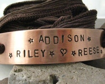 Personalized Mothers Bracelet, Chocolate Silk Ribbon Wrap, aluminum or copper bar, hand dyed ribbon, 30 character max, 15 per line, 2 lines