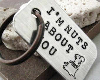 I'm Nuts About You Keychain, couples keychain, valentines day, anniversary keychain, besties, bff gift, optional initial disc, see pics