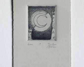 Luna - fine art intaglio etching, printed on warm grey