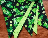 St. Patrick's Day Dogs, Fabric Banner, Green Bunting.  Ready To Ship.  Photo Prop, Nursery Decoration, Party Banner.