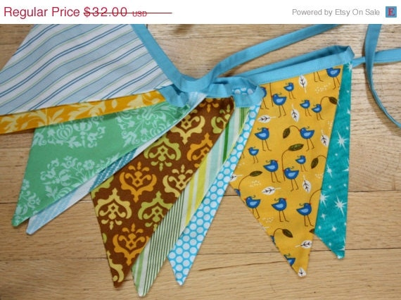 10% OFF Gender Neutral Photography Prop Fabric Bunting Banner.  Also for Showers and Parties. Ready to Ship.