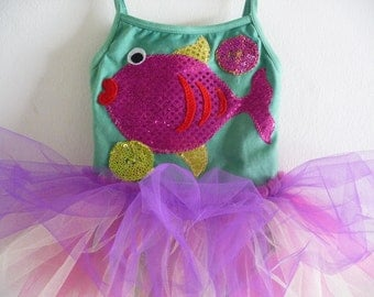 SPARKLE FISH - Leotard Tutu - Fish Tutu - Under the Sea Tutu - Sizes 18 months, 2/4 years, 4/6 years, 6/8 years and up
